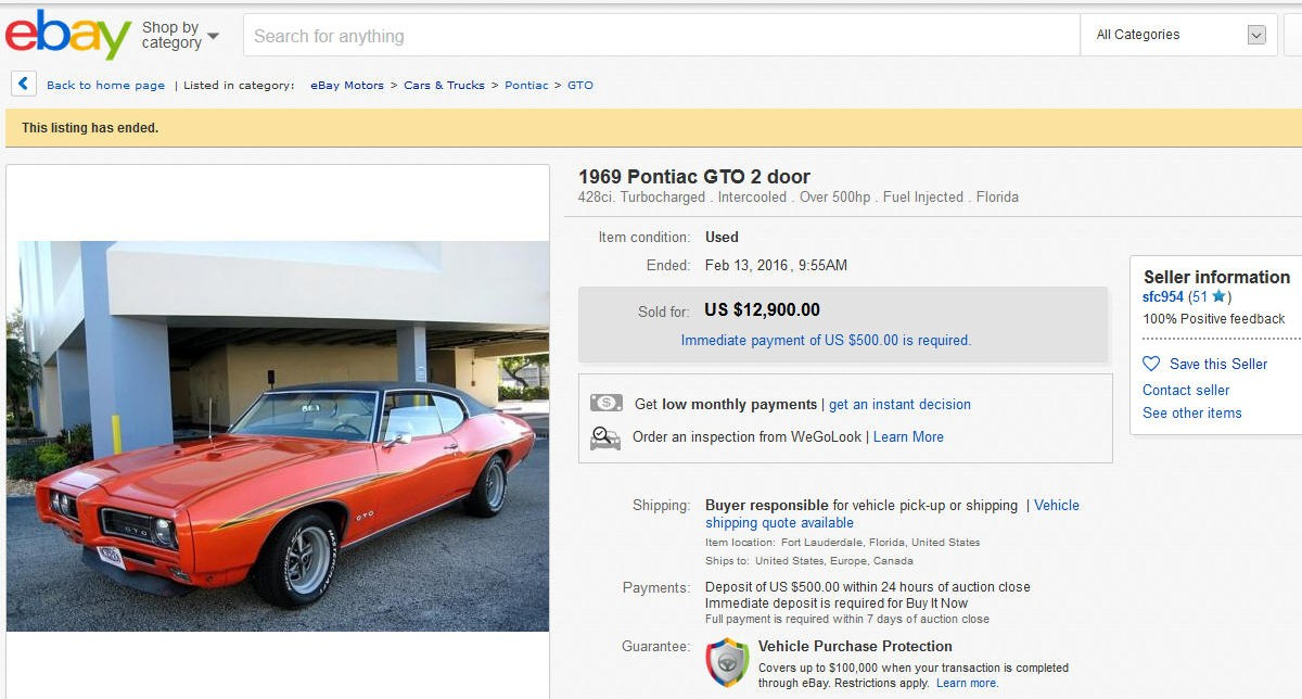 1969 Pontiac GTO sold on ebay
