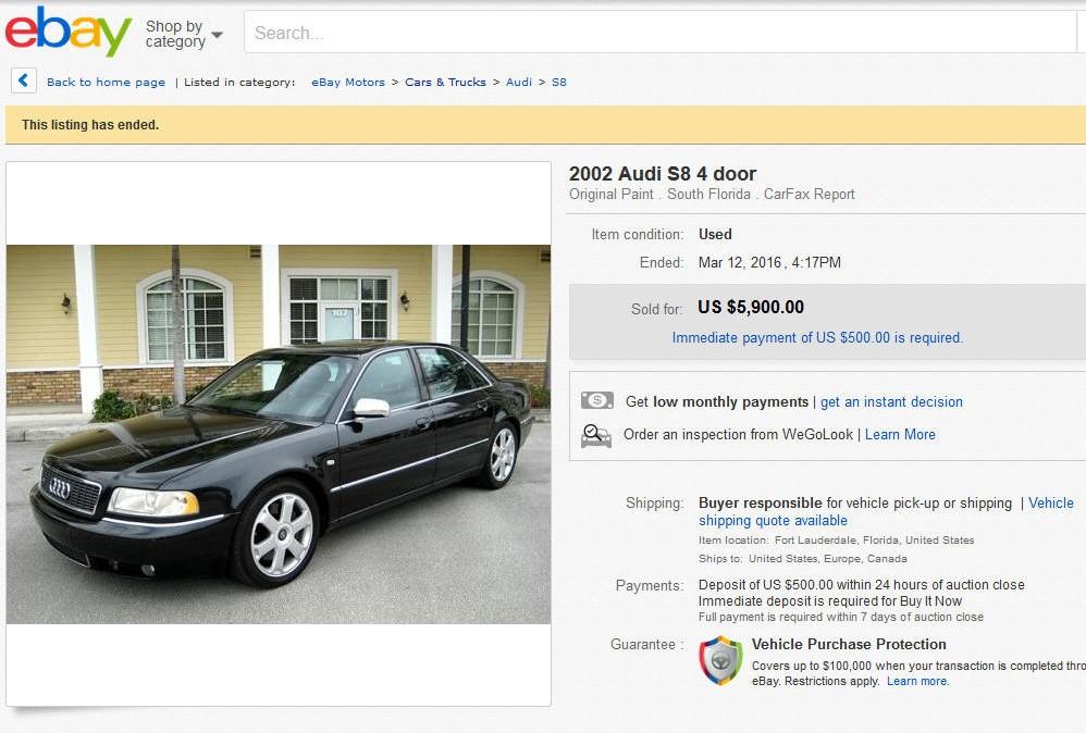 2002 Audi S8 sold on ebay