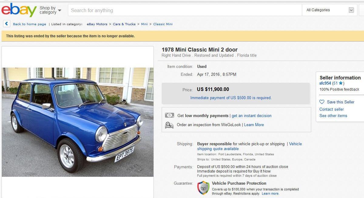 1978 Austin Mini sold on ebay