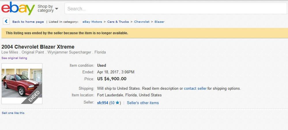 2004 Chevy Blazer Xtreme sold on ebay