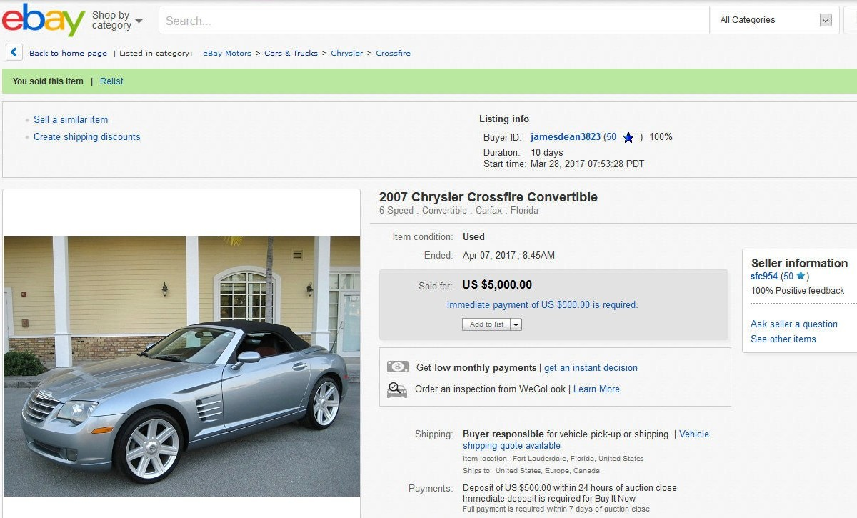 2007 Crossfire Limited Convertible ebay