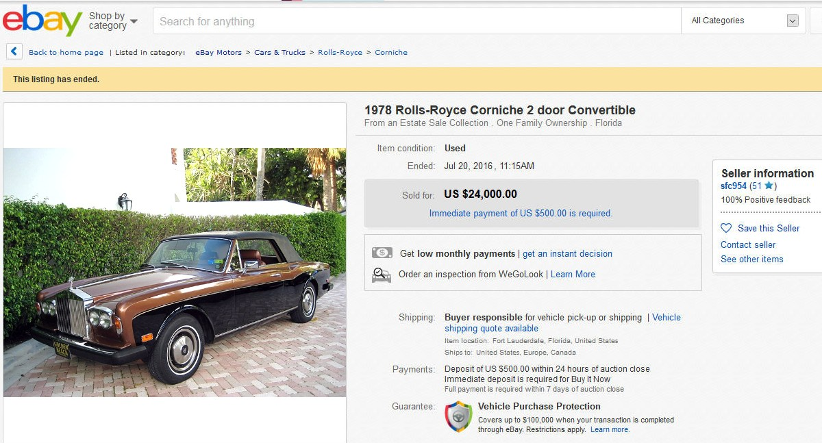 1978 Rolls Royce Corniche sold on ebay