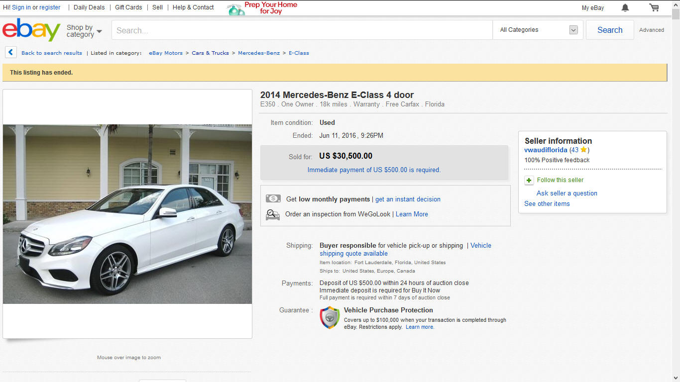 2014 Mercedes E350 sold on ebay