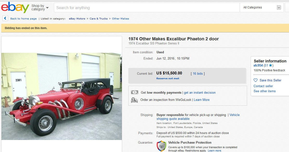 Excalibur sold on ebay